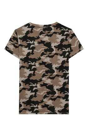 Детская хлопковая футболка BALMAIN хаки цвета, арт. 6M8581/ME440/12-16 | Фото 2