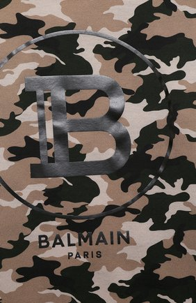 Детская хлопковая футболка BALMAIN хаки цвета, арт. 6M8581/ME440/12-16 | Фото 3