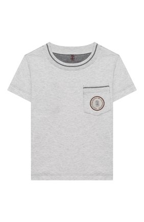 Детская хлопковая футболка BRUNELLO CUCINELLI серого цвета, арт. B0B13T110A | Фото 1