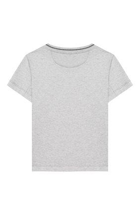 Детская хлопковая футболка BRUNELLO CUCINELLI серого цвета, арт. B0B13T110A | Фото 2