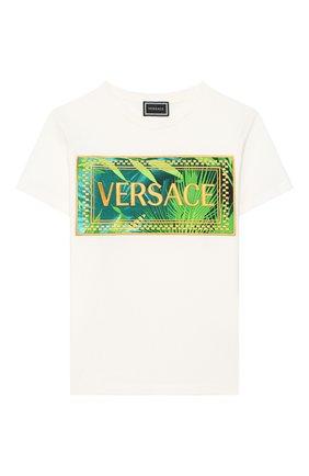 Детская хлопковая футболка VERSACE белого цвета, арт. YC000392/YA00079/8A-14A | Фото 1