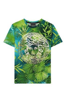 Детская хлопковая футболка VERSACE зеленого цвета, арт. YD000303/A235479/8A-14A | Фото 1