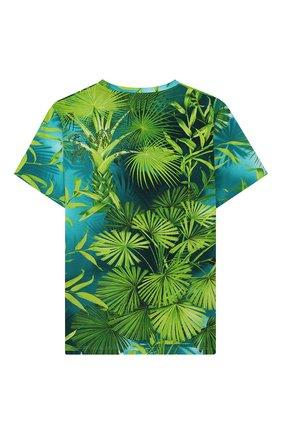 Детская хлопковая футболка VERSACE зеленого цвета, арт. YD000303/A235479/8A-14A | Фото 2