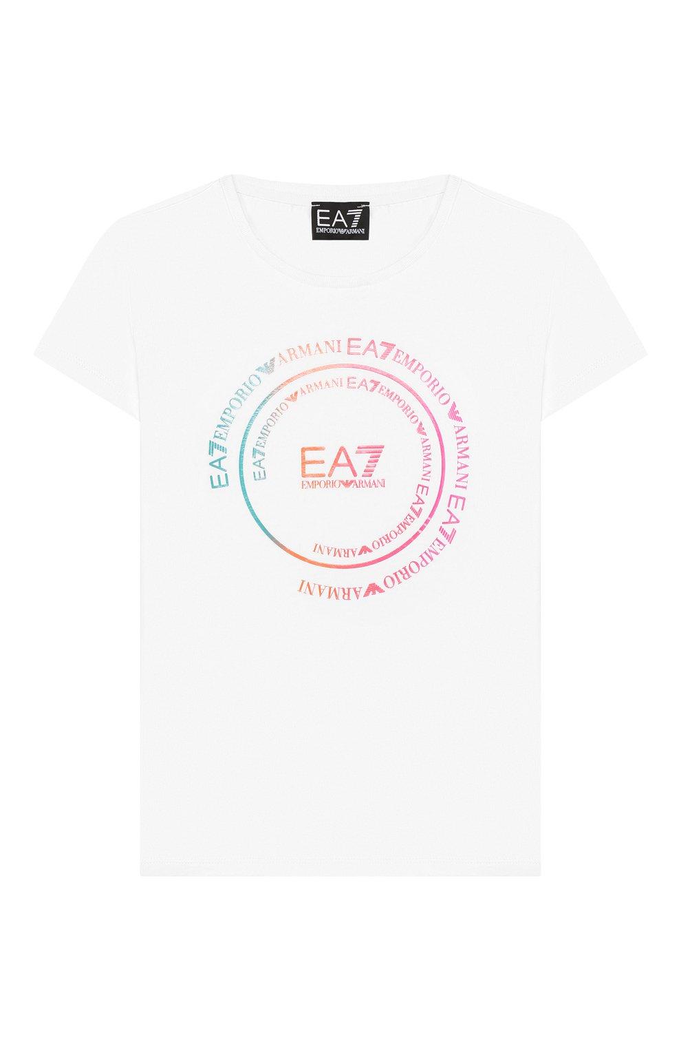 Детская хлопковая футболка EA 7 белого цвета, арт. 3HFT59/FJT2Z | Фото 1