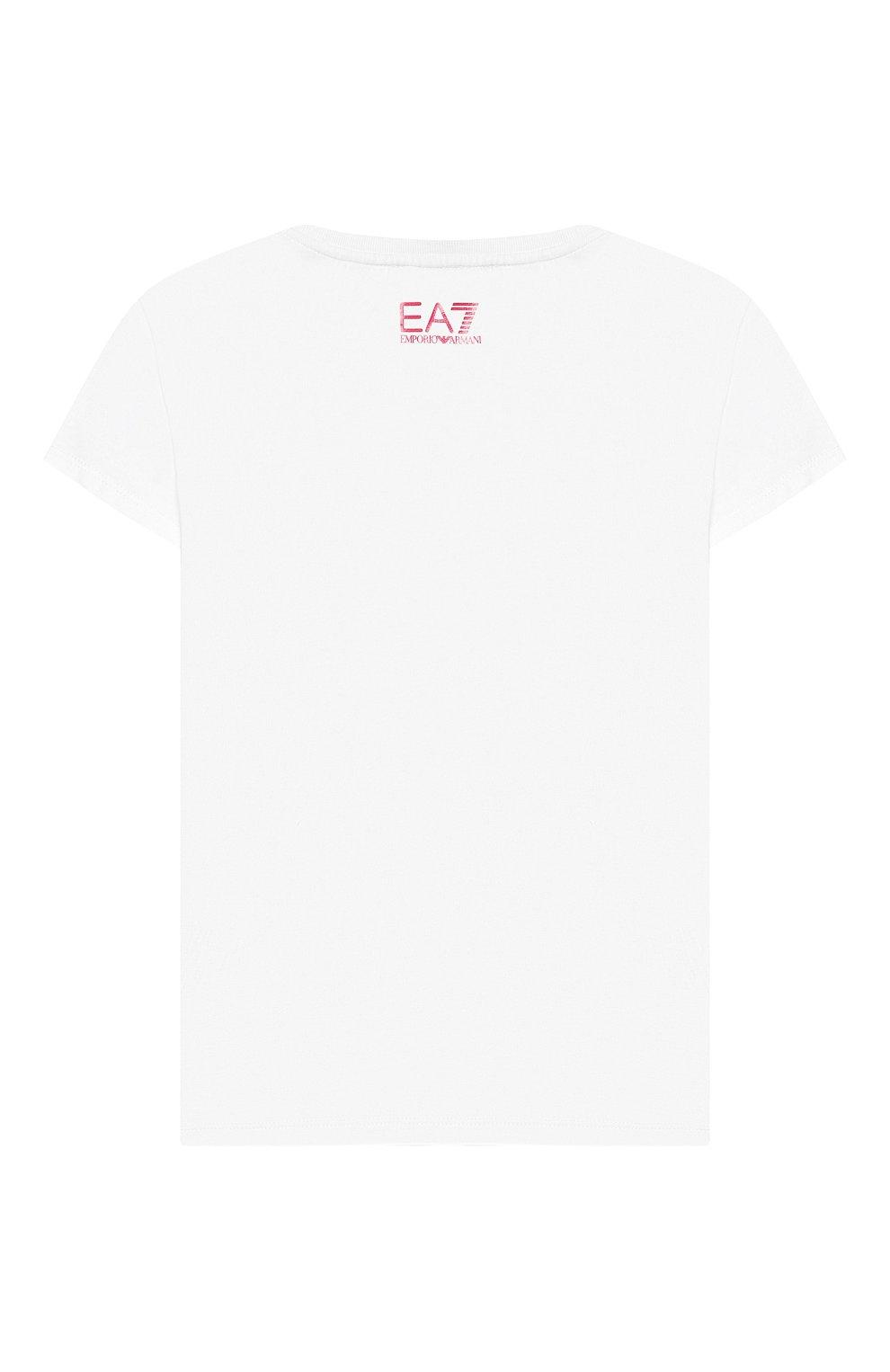 Детская хлопковая футболка EA 7 белого цвета, арт. 3HFT59/FJT2Z | Фото 2