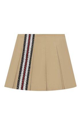 Детская хлопковая юбка BURBERRY бежевого цвета, арт. 8026383   Фото 1