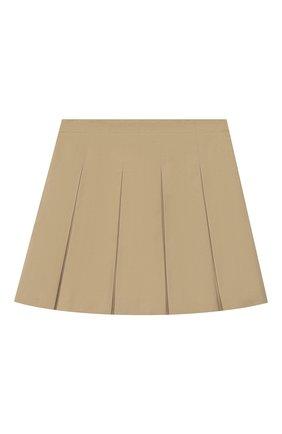 Детская хлопковая юбка BURBERRY бежевого цвета, арт. 8026383   Фото 2