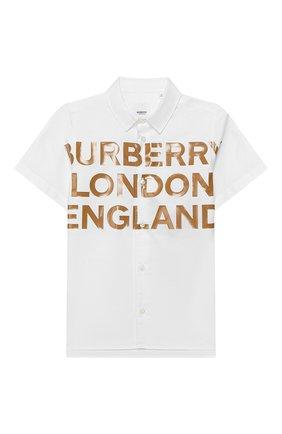 Детская хлопковая рубашка BURBERRY белого цвета, арт. 8026355 | Фото 1