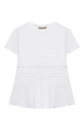 Детский хлопковая футболка ERMANNO SCERVINO белого цвета, арт. 46I TS33 JEA/10-16   Фото 1