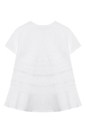 Детский хлопковая футболка ERMANNO SCERVINO белого цвета, арт. 46I TS33 JEA/10-16   Фото 2