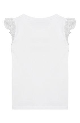 Детская хлопковая футболка ERMANNO SCERVINO белого цвета, арт. 46I TS09 JEA/4-8 | Фото 2