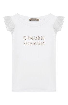 Детская хлопковая футболка ERMANNO SCERVINO белого цвета, арт. 46I TS09 JEA/10-16 | Фото 1