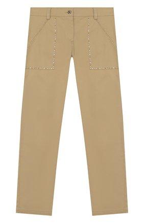 Детского хлопковые брюки ERMANNO SCERVINO бежевого цвета, арт. 46I PL01 GAB/10-16   Фото 1