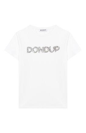 Детская хлопковая футболка DONDUP белого цвета, арт. YS189/JY0014G/ZA30 | Фото 1