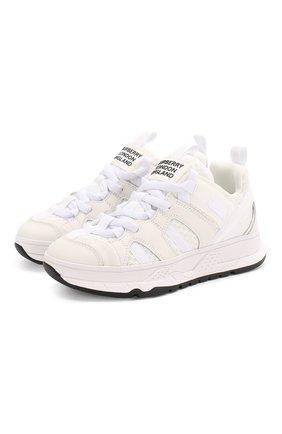 Детские кроссовки BURBERRY белого цвета, арт. 8018857 | Фото 1