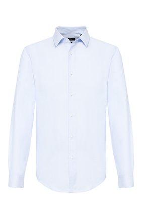 Мужская хлопковая сорочка BOSS голубого цвета, арт. 50427201 | Фото 1