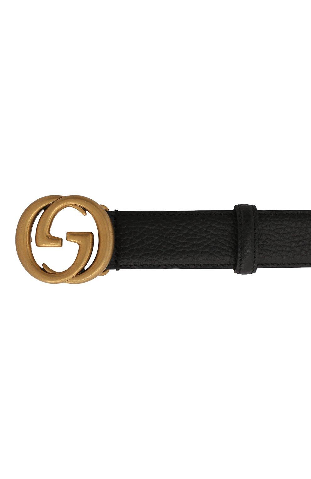 Мужской кожаный ремень GUCCI черного цвета, арт. 474345/CA00T   Фото 3 (Случай: Повседневный)
