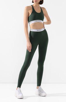 Женские леггинсы WILDFOX темно-зеленого цвета, арт. WCM182000   Фото 2