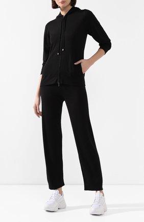 Женские брюки из смеси кашемира и шелка IL BORGO CASHMERE черного цвета, арт. 54-1138C-M0DG0 | Фото 2