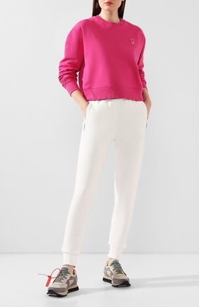 Женская хлопковый свитшот AMI фуксия цвета, арт. E20FJ007.730 | Фото 2