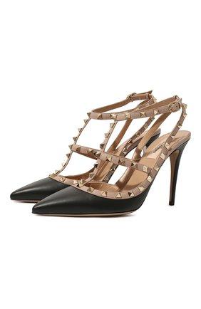 Женские кожаные туфли rockstud VALENTINO черного цвета, арт. TW0S0393/V0D | Фото 1 (Подошва: Плоская; Материал внутренний: Натуральная кожа; Каблук высота: Высокий; Каблук тип: Шпилька)