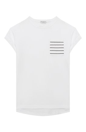 Детская хлопковая футболка BRUNELLO CUCINELLI белого цвета, арт. B0045T021A | Фото 1