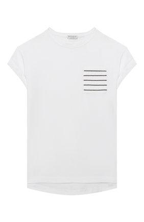 Детская хлопковая футболка BRUNELLO CUCINELLI белого цвета, арт. B0045T021C | Фото 1