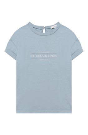 Детская хлопковая футболка BRUNELLO CUCINELLI голубого цвета, арт. B0045T085A | Фото 1