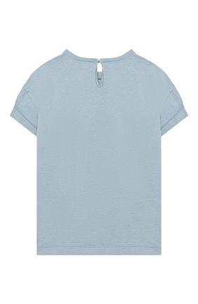 Детская хлопковая футболка BRUNELLO CUCINELLI голубого цвета, арт. B0045T085A | Фото 2