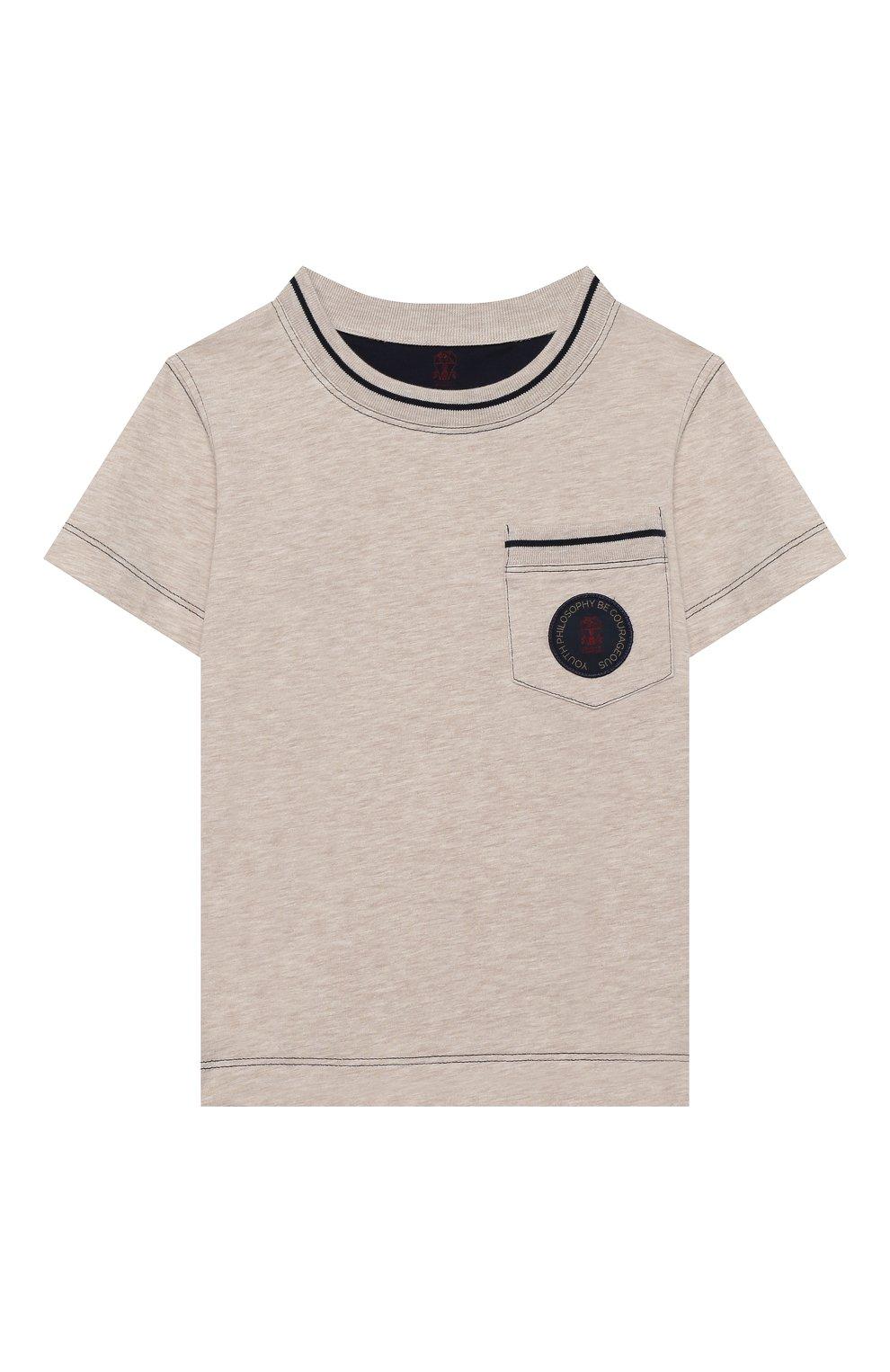Детская хлопковая футболка BRUNELLO CUCINELLI бежевого цвета, арт. B0B13T110A | Фото 1