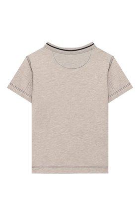 Детская хлопковая футболка BRUNELLO CUCINELLI бежевого цвета, арт. B0B13T110A | Фото 2