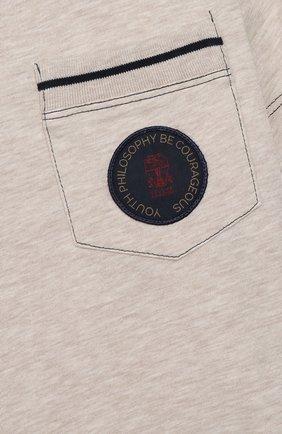 Детская хлопковая футболка BRUNELLO CUCINELLI бежевого цвета, арт. B0B13T110A | Фото 3