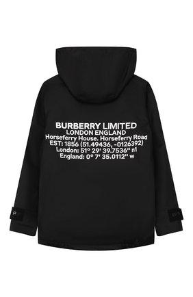 Детского ветровка BURBERRY черного цвета, арт. 8026341 | Фото 2