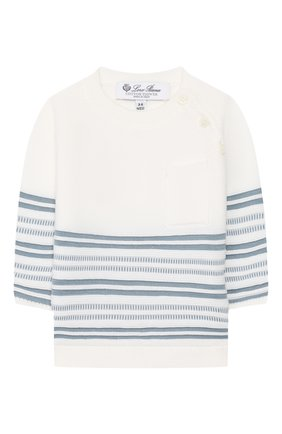 Детский хлопковый пуловер LORO PIANA голубого цвета, арт. FAI9468 | Фото 1