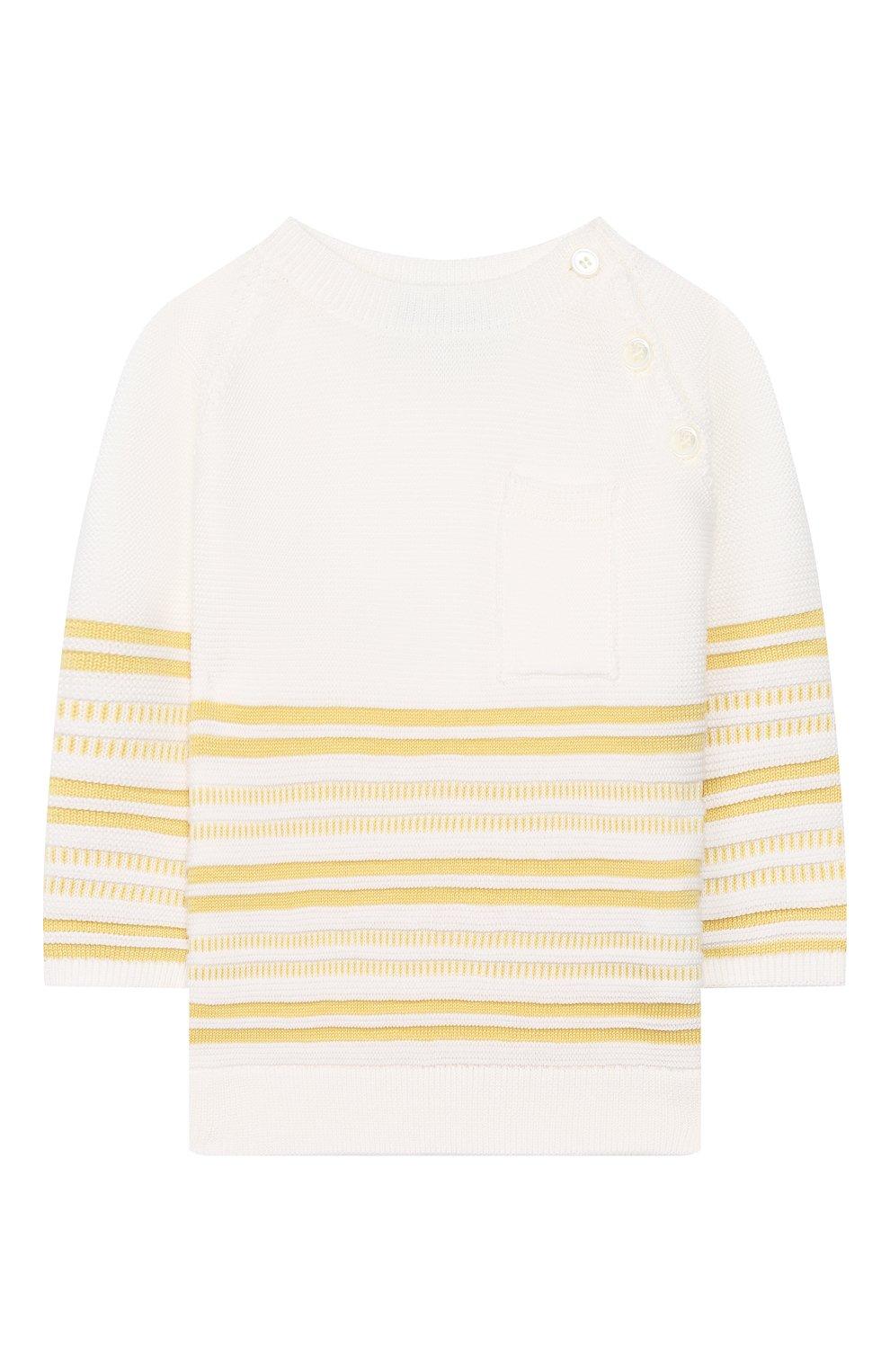 Детский хлопковый пуловер LORO PIANA желтого цвета, арт. FAI9468 | Фото 1