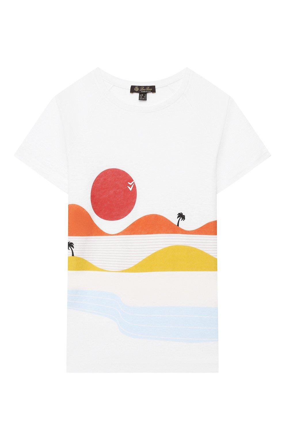 Детская льняная футболка LORO PIANA белого цвета, арт. FAI9671   Фото 1