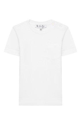 Детский льняная футболка LORO PIANA белого цвета, арт. FAL0867 | Фото 1