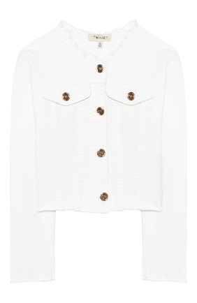 Детская джинсовая куртка TWINSET белого цвета, арт. 201GJ2032/6A-10A | Фото 1