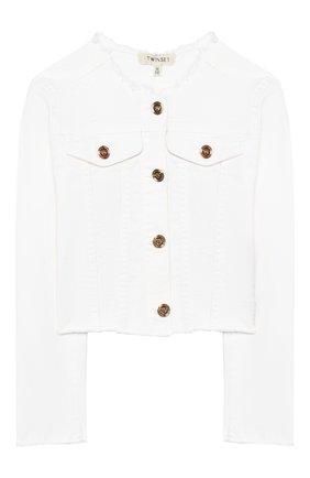 Детская джинсовая куртка TWINSET белого цвета, арт. 201GJ2032/12A-16A | Фото 1