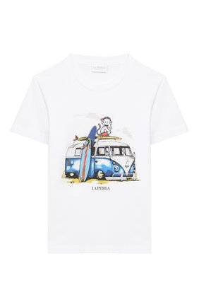 Детская хлопковая футболка LA PERLA белого цвета, арт. 77154/2A-6A | Фото 1