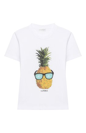 Детская хлопковая футболка LA PERLA белого цвета, арт. 77224/2A-6A | Фото 1