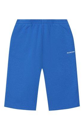 Детские хлопковые шорты BALENCIAGA голубого цвета, арт. 621789/TFV19   Фото 1