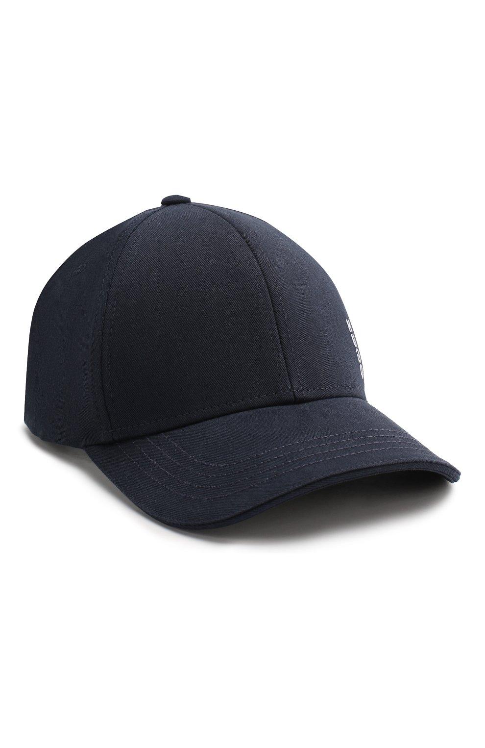 Мужской хлопковая бейсболка BOSS темно-синего цвета, арт. 50422982 | Фото 1