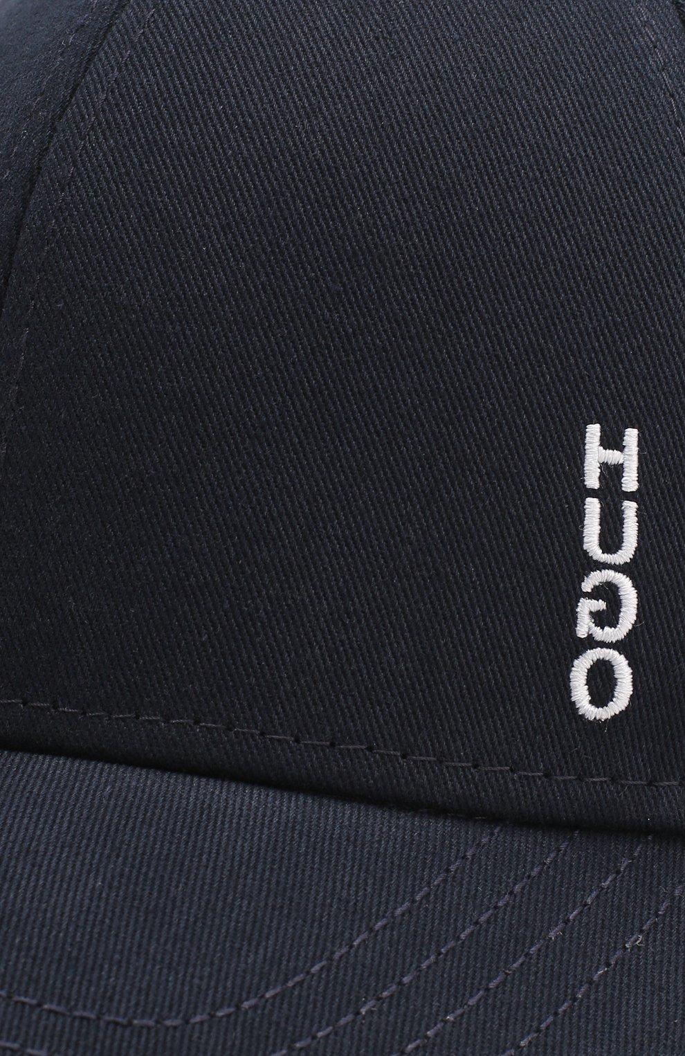 Мужской хлопковая бейсболка BOSS темно-синего цвета, арт. 50422982 | Фото 3