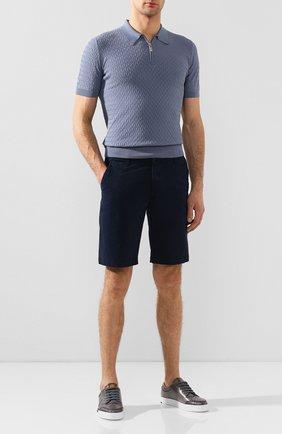 Мужское хлопковое поло ANDREA CAMPAGNA голубого цвета, арт. 57165/20676   Фото 2