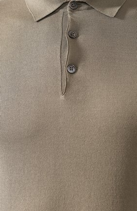 Мужское хлопковое поло  BRUNELLO CUCINELLI хаки цвета, арт. M29800125 | Фото 5