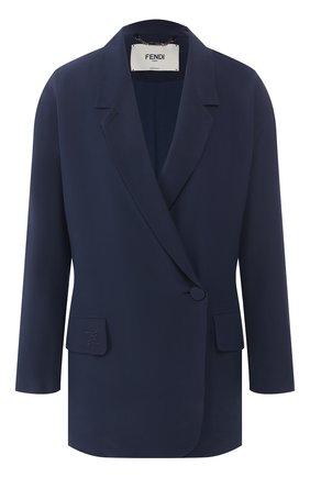 Женский шелковый жакет FENDI синего цвета, арт. FJ7023 02R | Фото 1