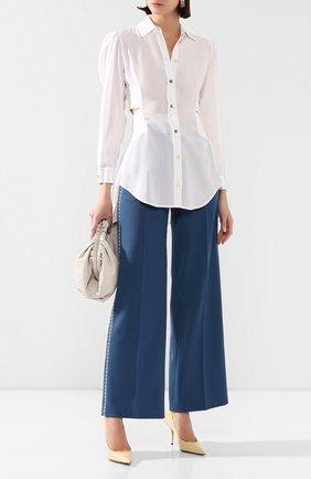 Женские шерстяные брюки FENDI синего цвета, арт. FR6240 A8D5 | Фото 2