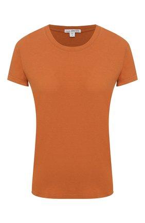 Женская хлопковая футболка JAMES PERSE коричневого цвета, арт. WLJ3114 | Фото 1