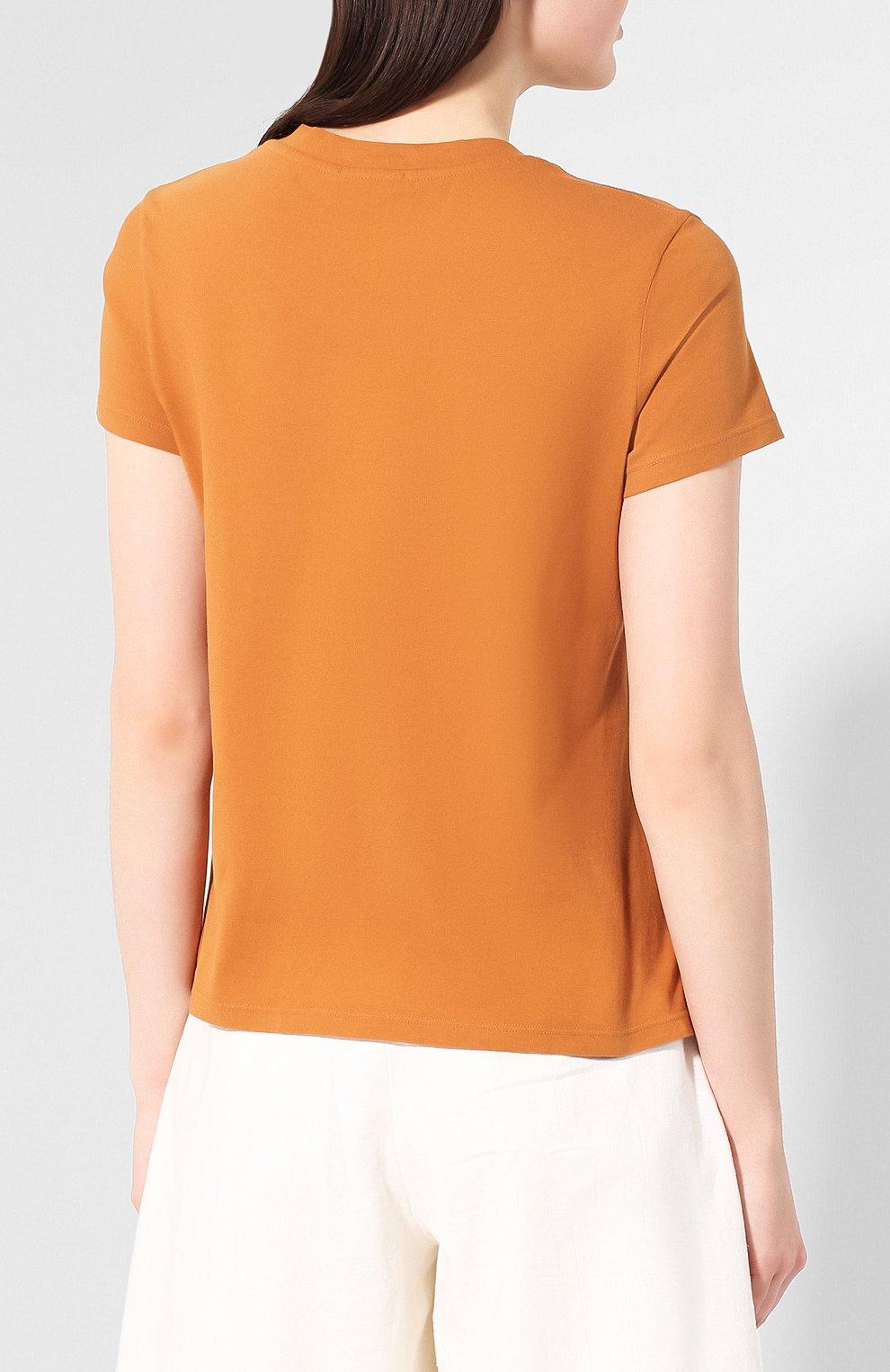 Женская хлопковая футболка JAMES PERSE коричневого цвета, арт. WLJ3114 | Фото 4